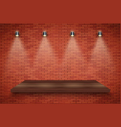 Brick wall and wood platform vector