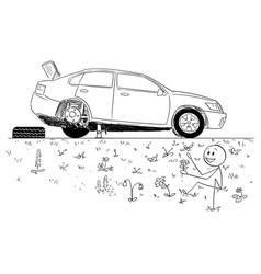 Cartoon of man repairing broken car and founding vector