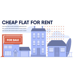 Cheap flat cottage budget house for rent banner vector