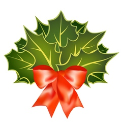 christmas holly leafs with red bow vector image