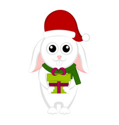 christmas rabbit character holding a present vector image