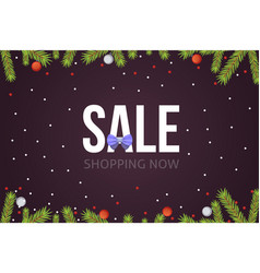 christmas sale banner template with glitter balls vector image