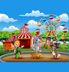 circus trainer performance with elephant and rabbi vector image
