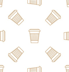 coffee paper cup outline seamless pattern vector image