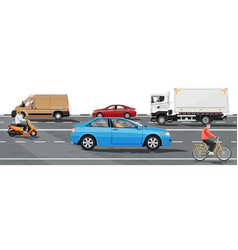 collection various vehicles side view road vector image