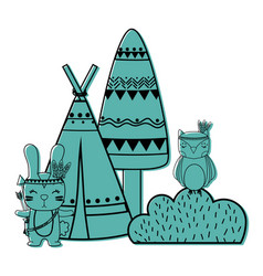 Color rabbit and owl animal with camp and bush vector