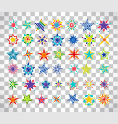 colorful cartoon stars on transparent background vector image vector image