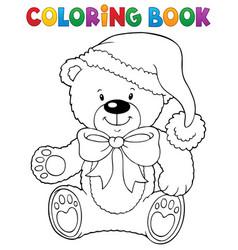 Coloring book christmas teddy bear topic vector