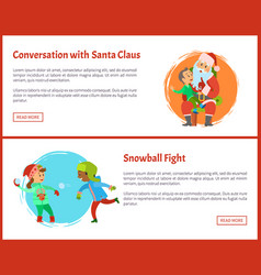 conversation with santa and snowball fights vector image