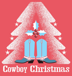 Cowboy christmas card red background with western vector