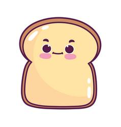cute food slice bread sweet dessert kawaii cartoon vector image