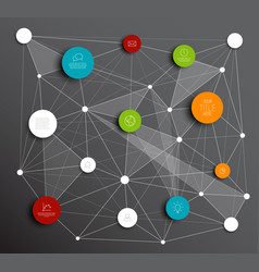 Dark abstract circles infographic network template vector