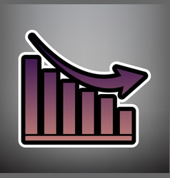 declining graph sign violet gradient icon vector image