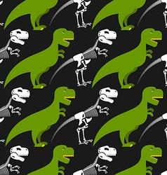 Dinosaur skeleton and seamless pattern Green vector image
