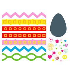 easter eggs floral decor elements painted vector image