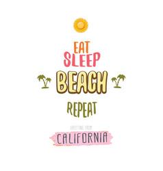 Eat sleep beach repeat cartoon concept vector