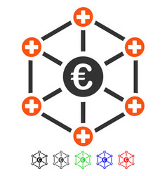 Euro medical network flat icon vector