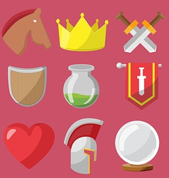 Fantasy game icons flat sets vector image