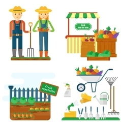farmer with garden equipment vector image