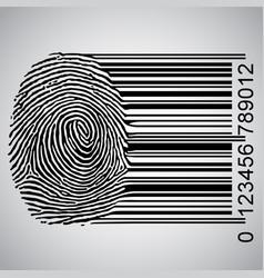 Fingerprint becoming barcode vector