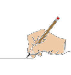 flat colorful line art hand holding pencil concept vector image
