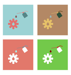 Flat icon design collection gear and oil vector