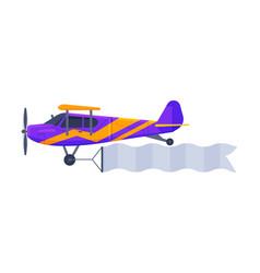 flying biplane with blank horizontal banner retro vector image