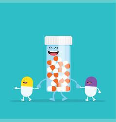 funny cartoon characters pills capsules vector image
