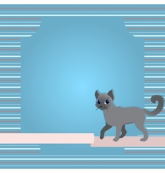 Greeting card with cat and ribbon vector image