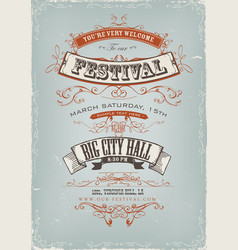 grunge festival invitation poster vector image