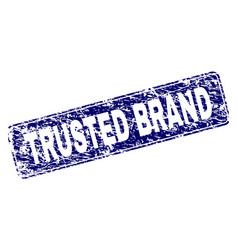 Grunge trusted brand framed rounded rectangle vector