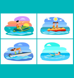 Human summer activities set vector