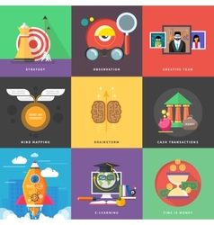 Icons for cash transactions headwork strategy vector