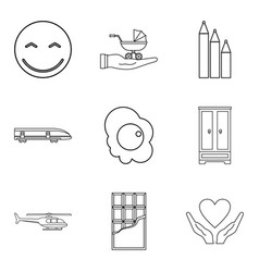 Infant school icons set outline style vector