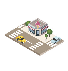 Isometric city cafe or restraunt food delivering vector