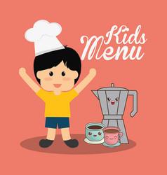Kids menu boy chocolate vector