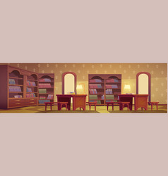 Library interior empty room for books reading vector