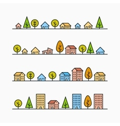 Line buildings and trees in line 4 different vector image
