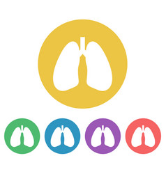 lungs set of colored round icons vector image