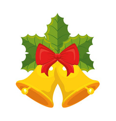 merry christmas bell with bow and leafs decorative vector image