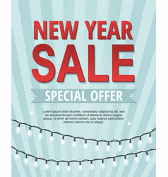 new year sale banner with garland vector image