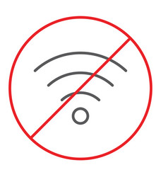 no wifi thin line icon prohibited and ban vector image