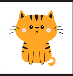 Orange red cat sad head face silhouette cute vector