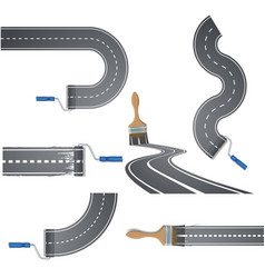 paint brush draws the road vector image