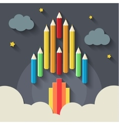 Pencils rocket on gray vector image