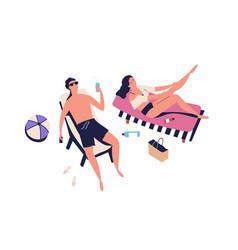 people romantic couple sunbathing on beach woman vector image