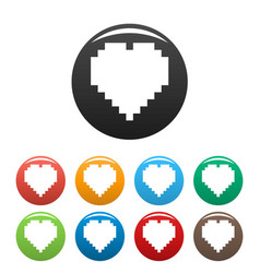 pixel heart icons set color vector image