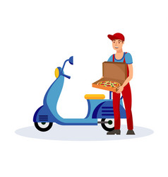 Pizza delivery service flat vector