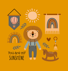 Poster with lion boy and bohemian elements vector