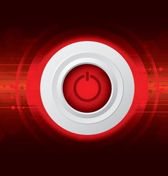 power button on red digital background vector image